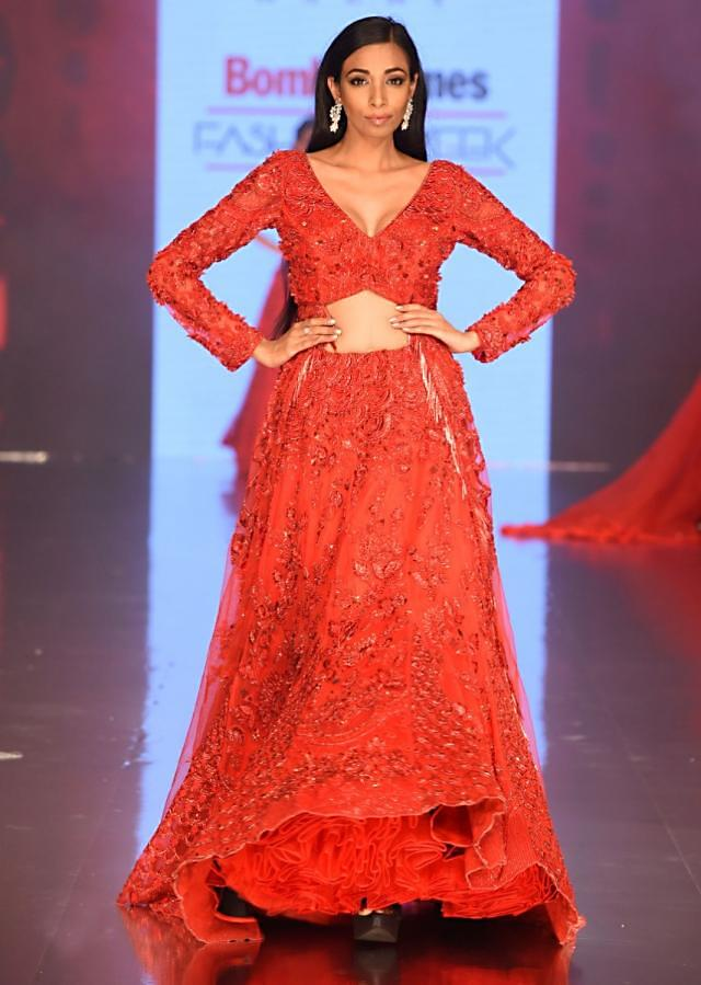 Ruby red heavy embroidered net lehenga jacket with tasseled border only on Kalki