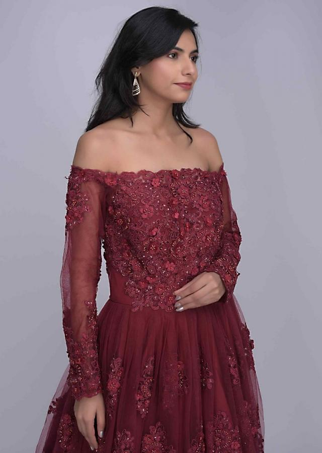 Ruby red off shoulder ethnic gown in embroidered net only on Kalki