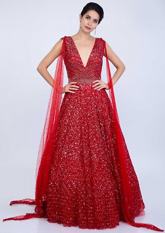 Ruby Red Gown In Shimmer Net With 4 Side Drape Online - Kalki Fashion