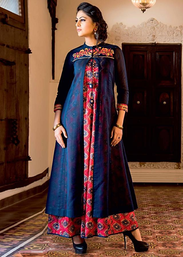 Rust Anarkali kurti matched with nay blue resham embroidered jacket