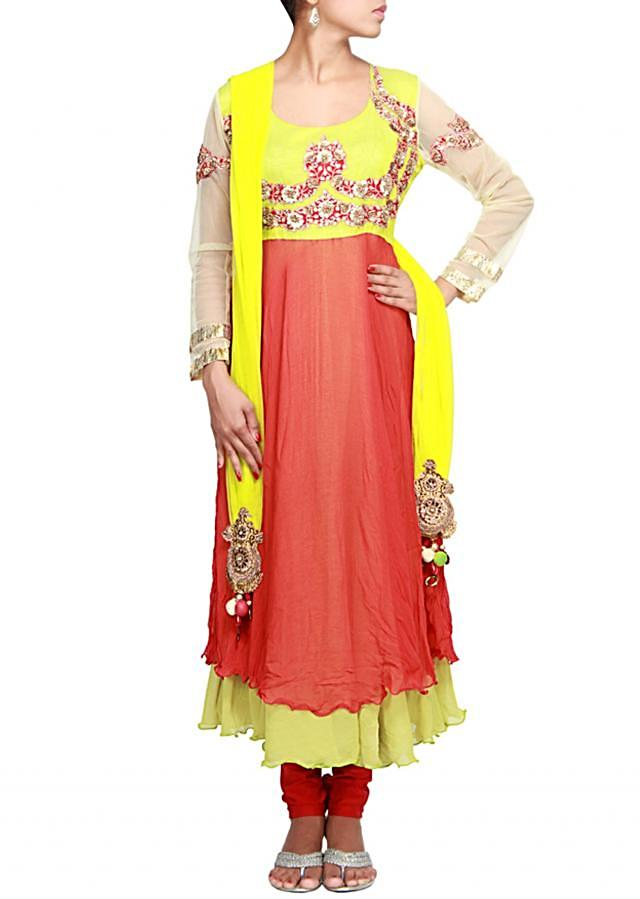 Rust anarkali suit featuring with embroidered yoke in sequence only on Kalki