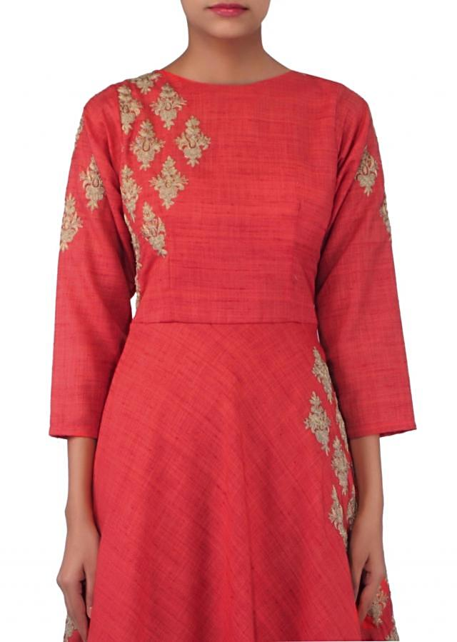 Rust anarkali suit in zari embroidered butt only on Kalki