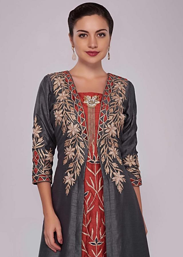 Rust And Graphite Grey Jacket Kurti With Resham And Patch Work Online - Kalki Fashion