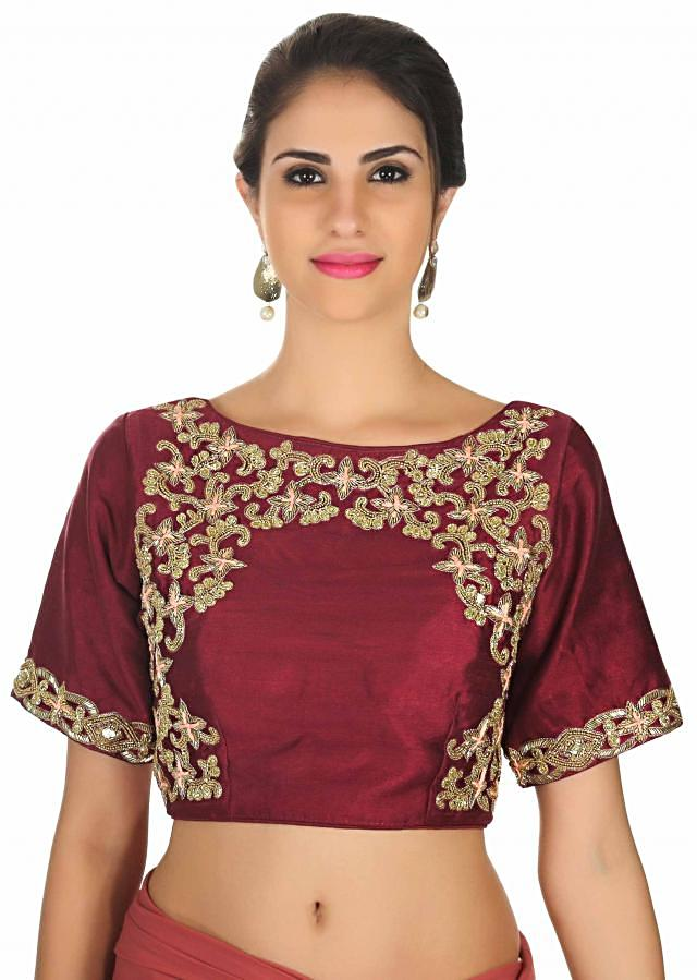 Rust and wine pre stitched saree with burgundy ready embroidered blouse only on Kalki