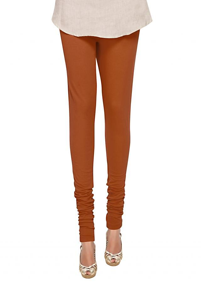 Rust cotton hosiery legging only on Kalki