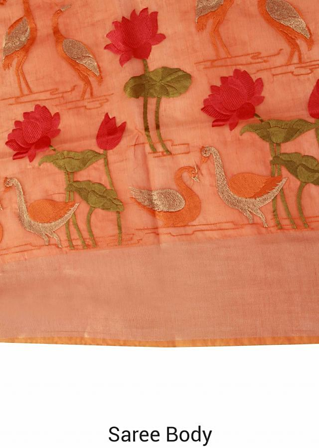 Rust saree embellished in floral and bird motif only on Kalki