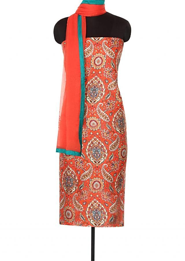 Rust unstitched suit in floral and paisley print only on Kalki