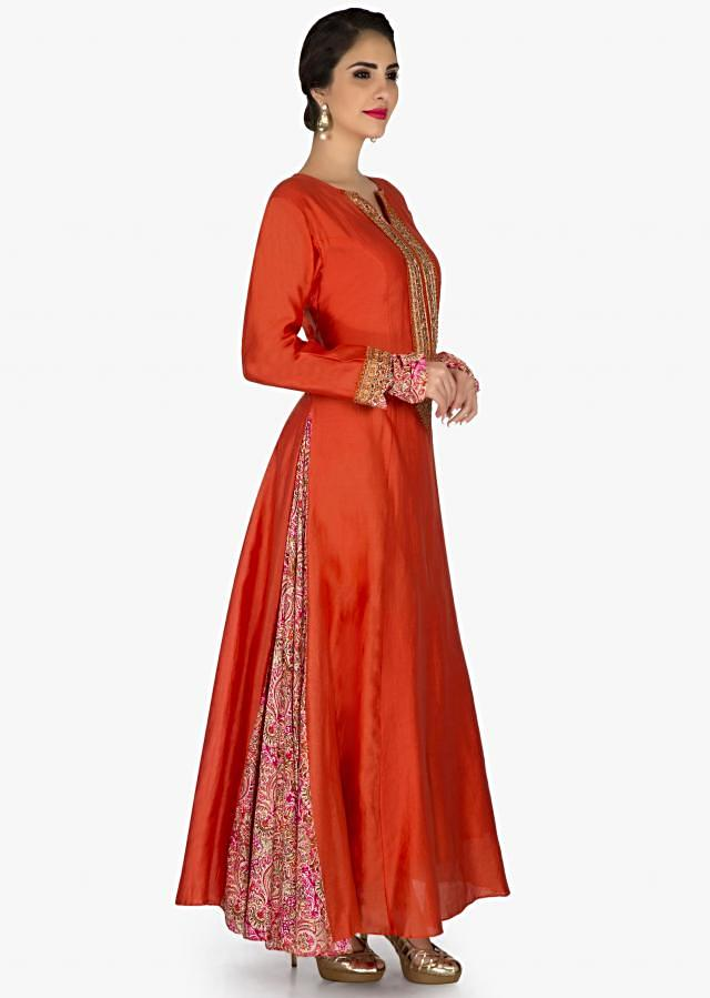 Rust A line dress with embroidered placket and printed kali only on Kalki