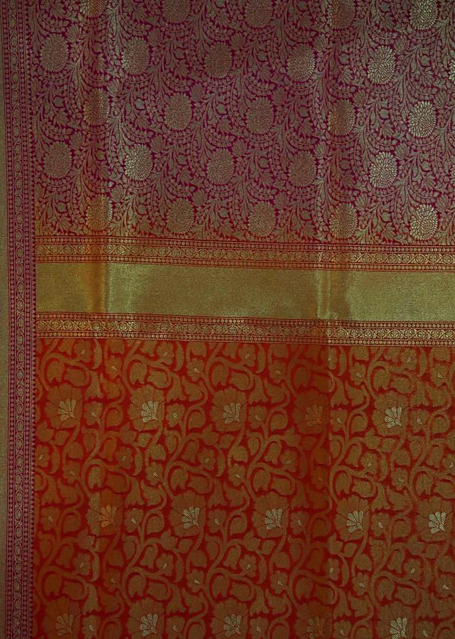 Rust and mustard saree in silk with contrast border only on Kalki