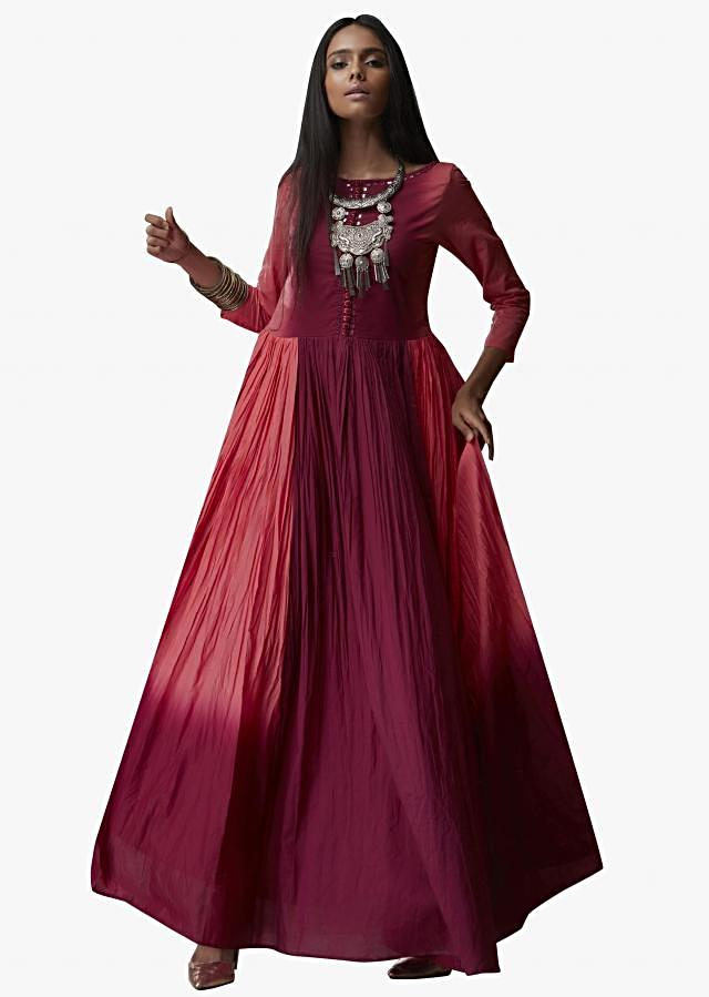 Rust and raspberry purple shaded suit in cotton with mirror embroidered neckline