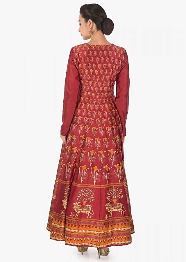 Rust dress in cotton with floral and geometric print all over only on Kalki