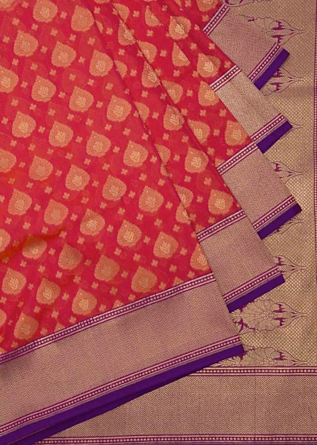 Rust red saree in silk with contrast pallav and border only on Kalki