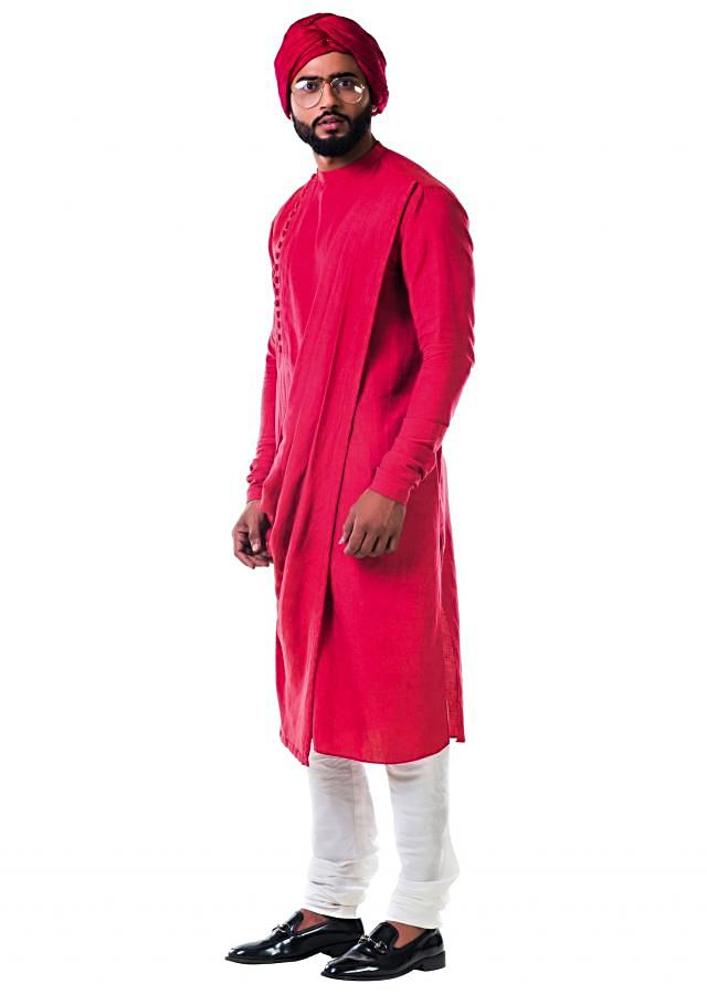 Rust side buttoned cowl kurta set only on Kalki