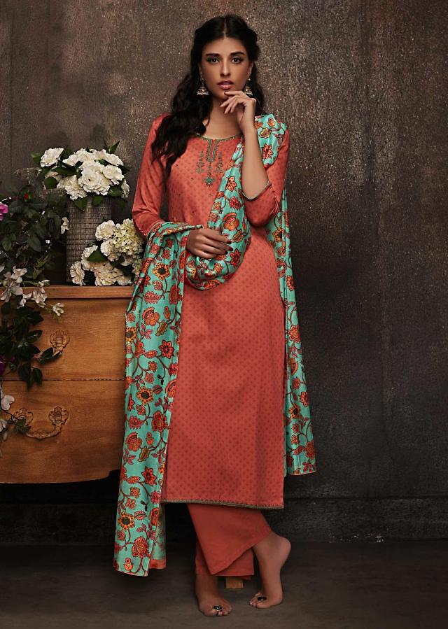 Rust unstitched suit in resham work and floral printed dupatta only on Kalki
