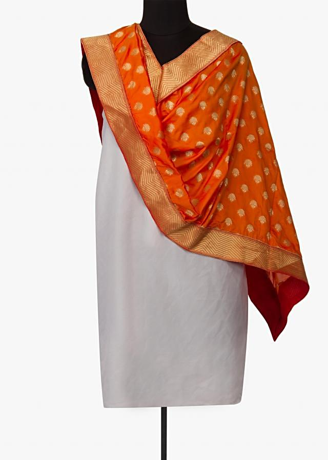 Rust woven dupatta in silk with zari weave butti and brocade border only on Kalki