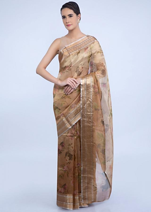 Rustic Brown Organza Saree With Floral Digital Print All Over Online - Kalki Fashion