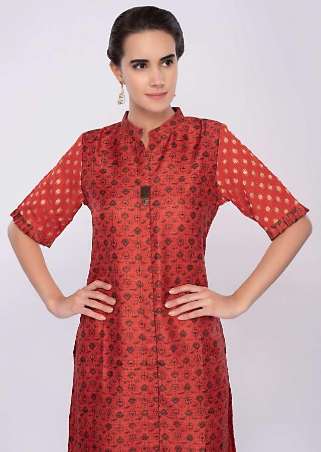 Rustic orange cotton silk kurti only on Kalki