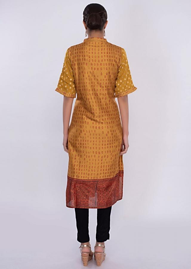Rustic yellow cotton silk kurti in printed butti only on Kalki