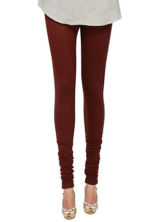 Rusty maroon cotton hosiery legging only on Kalki