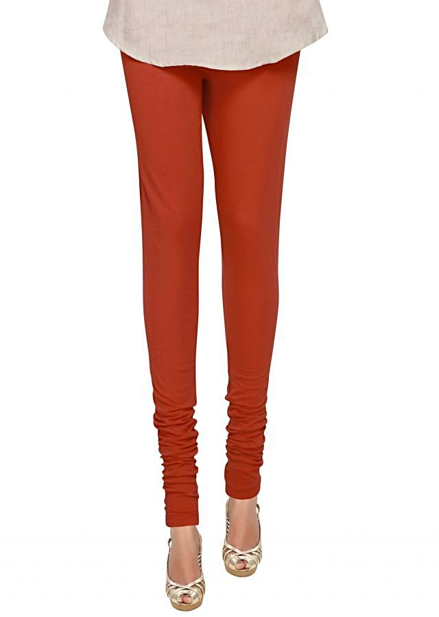 Rusty Red Cotton Hosiery Legging Featuring a Skin Fit only on Kalki