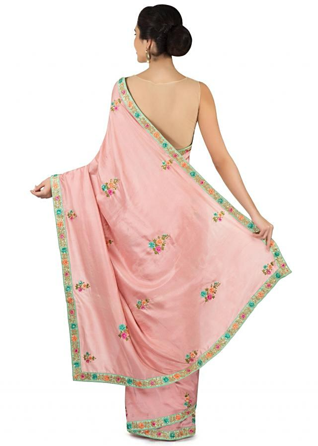 Sachet pink saree in resham embroidered butti only on Kalki