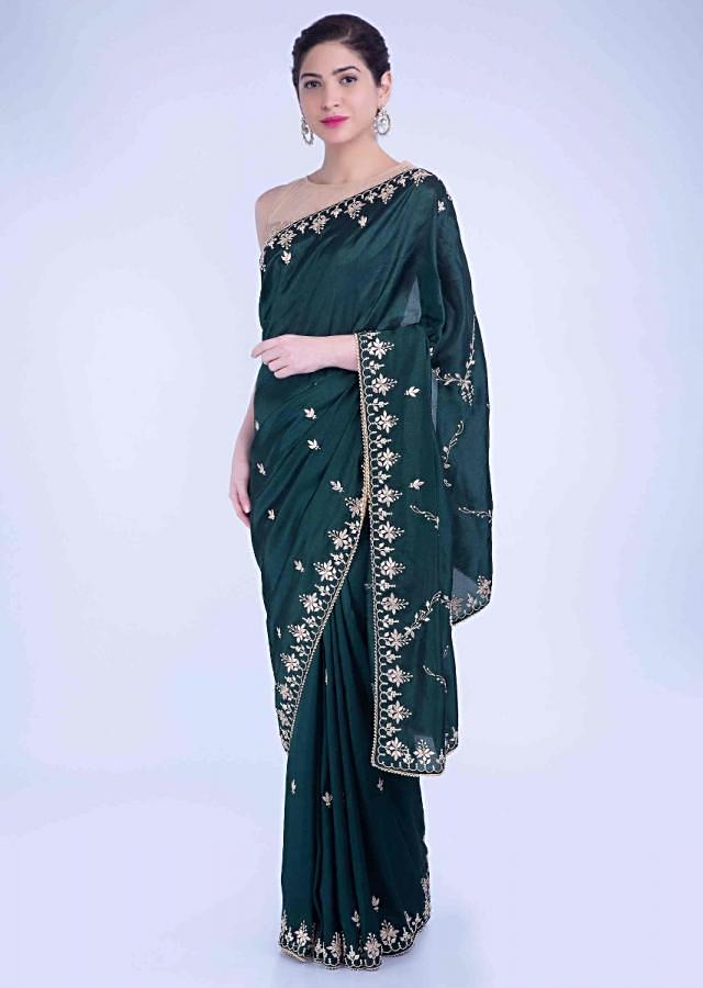 Sacramento Green Saree In Crepe Silk With Floral And Scallop Embroidered Border Online - Kalki Fashion