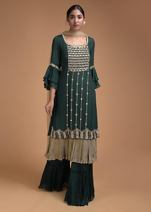 Sacramento Green Palazzo Suit In Crepe With Rhino Grey Pleated Frill Layer On The Hem Online - Kalki Fashion