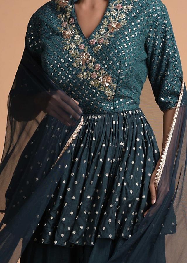 Sacramento Green Palazzo Suit With Peplum Top With Floral Embroidery Online - Kalki Fashion