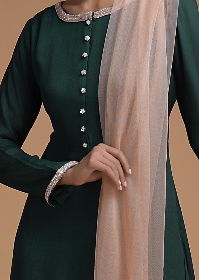 Sacramento Green Palazzo Suit With Powder Peach Embellished Net Attached Layer Online - Kalki Fashion