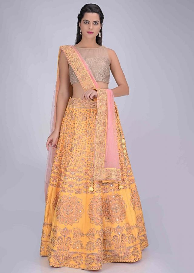 Saffron Yellow Lehenga Set In Cotton With Patola Print Online - Kalki Fashion