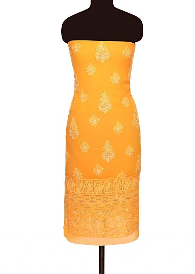 Saffron yellow unstitched suit with shaded dupatta only on Kalki