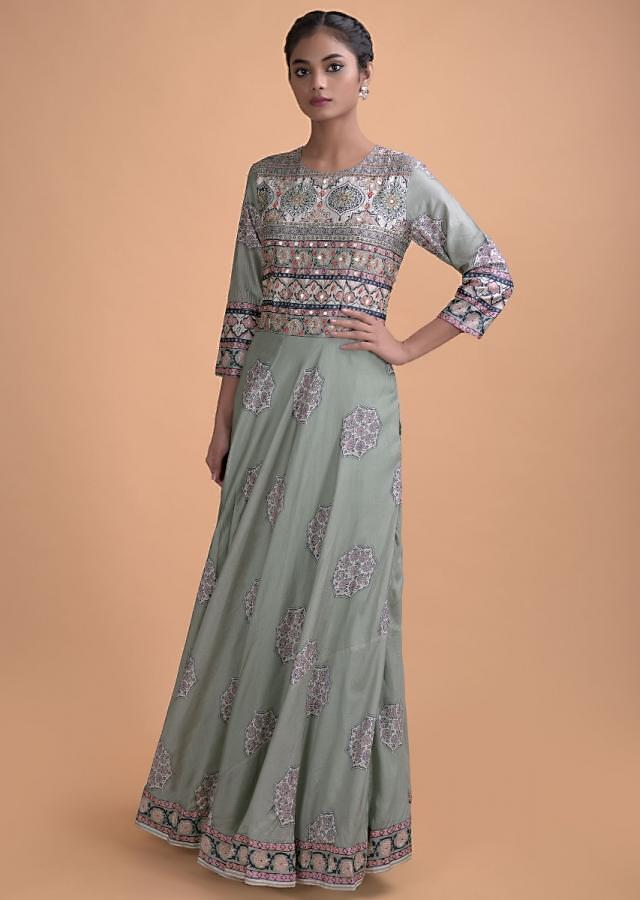 Sage Green Anarkali Suit In Cotton Silk With Floral Printed Buttis Online - Kalki Fashion