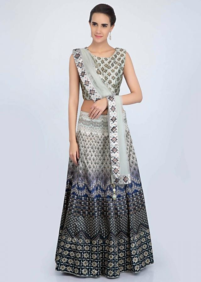 Sage green and mid night blue shaded satin lehenga set in digital print only on Kalki