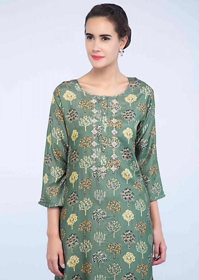 Sage green block printed cotton kurti only on Kalki
