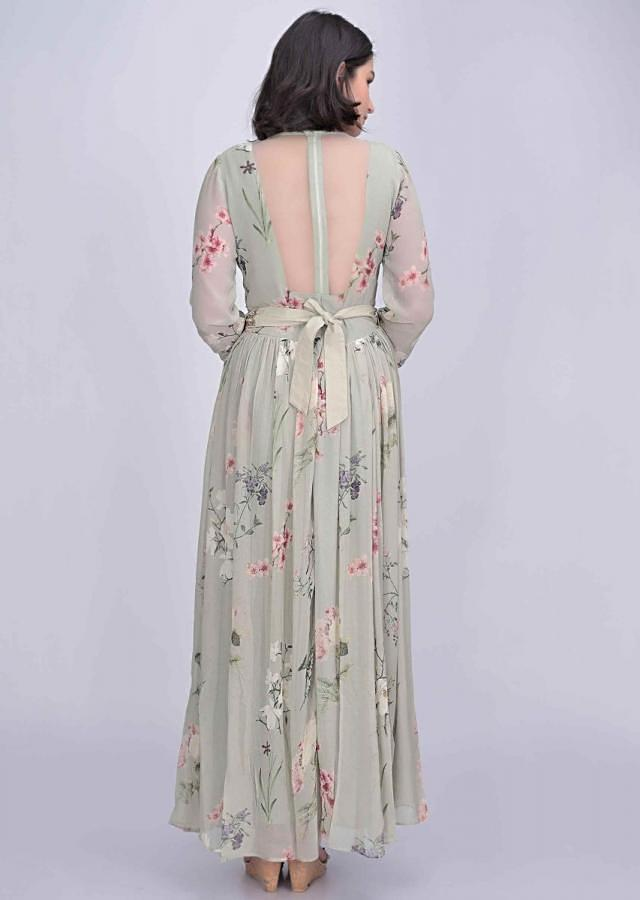 Sage green chiffon dress with floral print only on Kalki