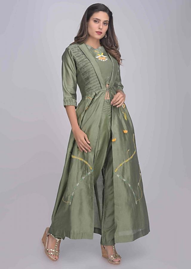 Sage Green Crop Top, Pants And Jacket Set In Cotton Silk With Fancy Pleats Details Online - Kalki Fashion