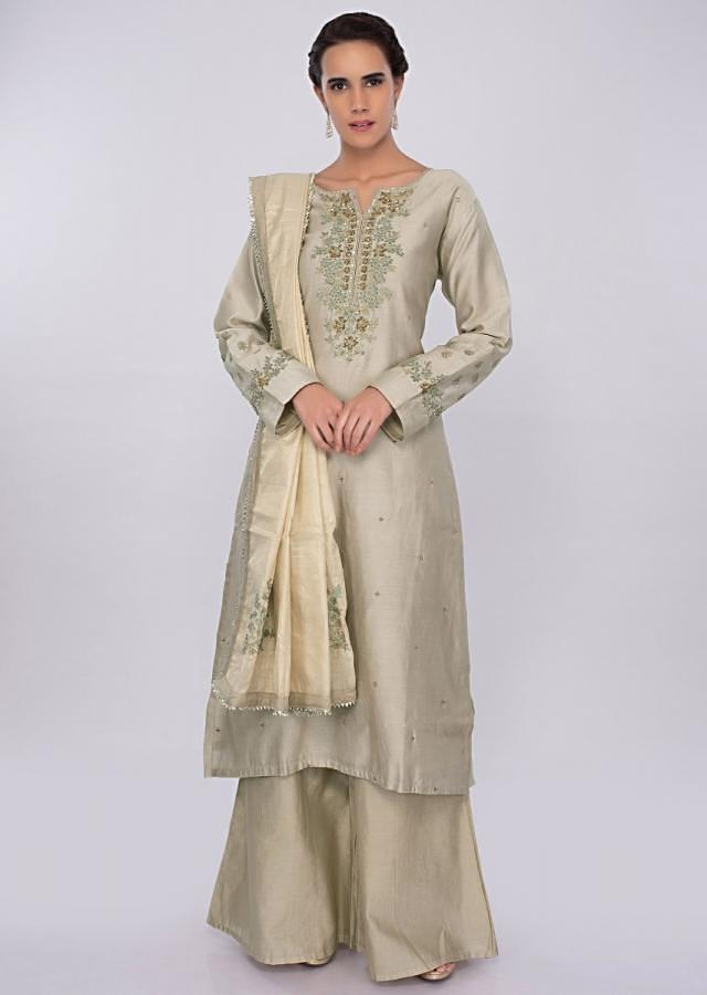 Sage green cotton silk palazzo suit set in embroidery and  butti only on kalki