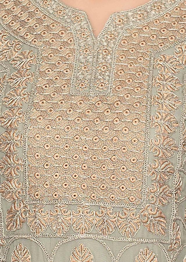 Sage Green Palazzo Suit Set With Jaal Embroidery Online - Kalki Fashion