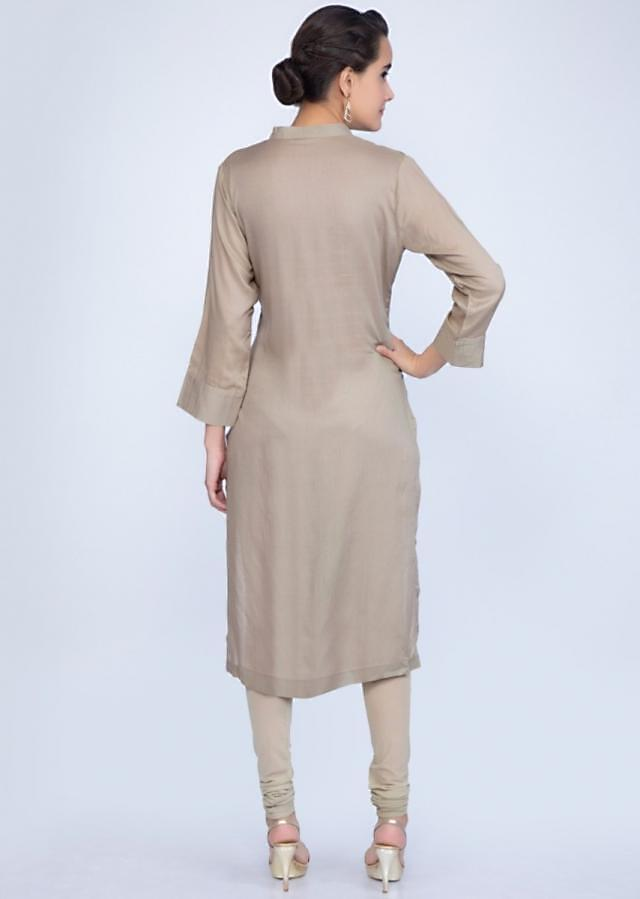 Sage green kurti with pin tuck work all over only on Kalki