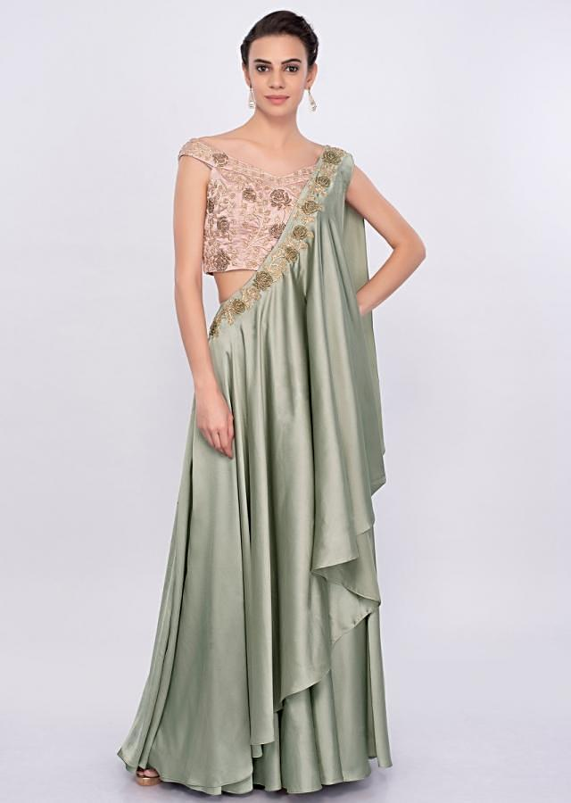Sage Green Skirt With Off Shoulder Blouse And Fancy Wrap Around Dupatta Online - Kalki Fashion