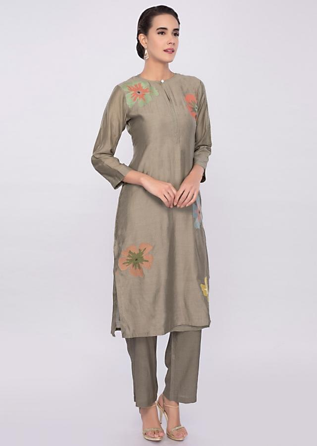 Sage grey cotton silk kurti with multi color floral butti only on Kalki