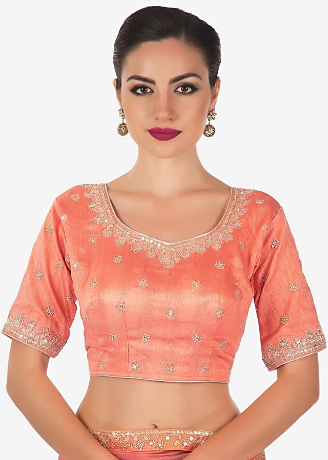 salmon peach organza silk amplified with cut dana and sequin on raw silk blouse only on kalki