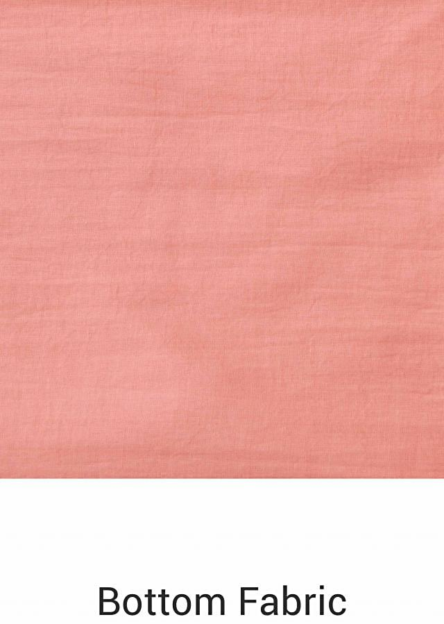 Salmon peach semi stitched suit in embossed foil printed butti