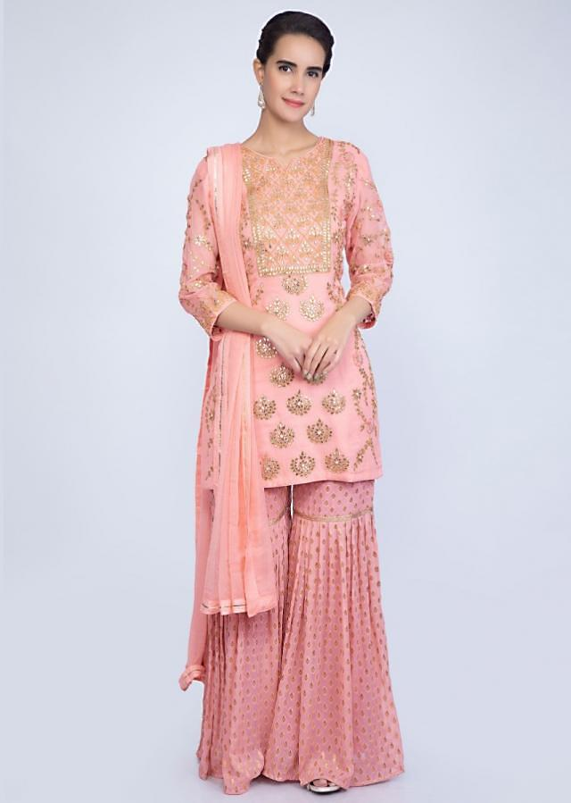 Salmon Pink Suit With Gotta Patch Embroidery And Pink Weaved Sharara Online - Kalki Fashion