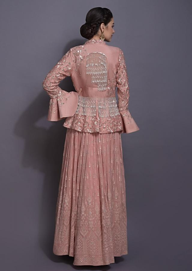 Salmon Pink Jacket Lehenga With Thread And Sequins Work In Jaal Motif Online - Kalki Fashion