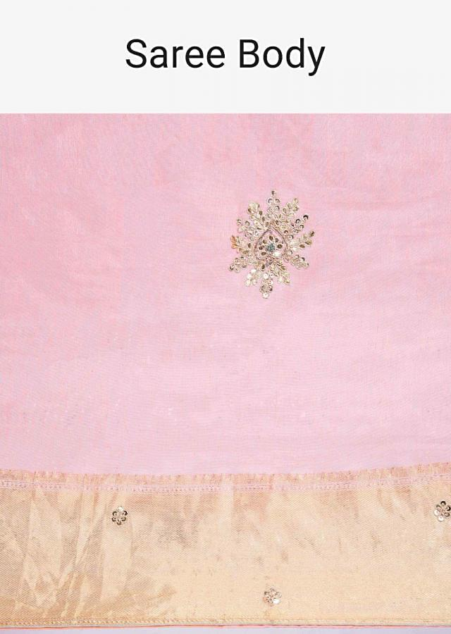 Salmon Pink Saree In Linen With Gotta Embroidered Butti Online - Kalki Fashion