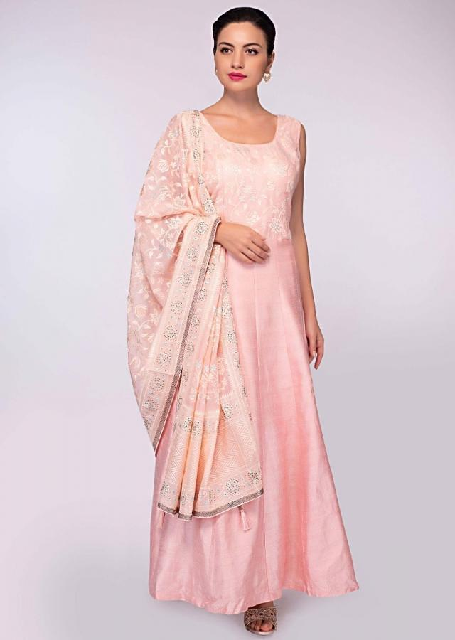 Salmon Pink Anarkali Dress In Raw Silk With Embroidered Organza Bodice Online - Kalki Fashion