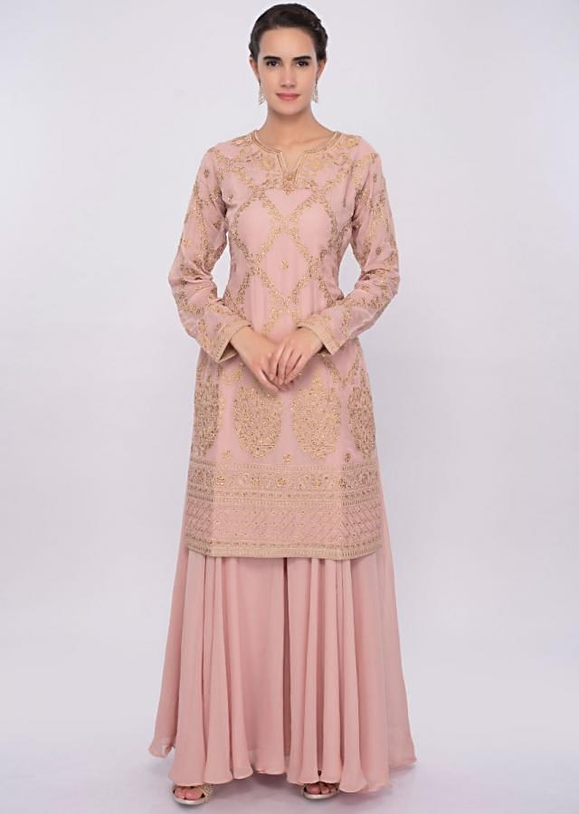 6e672d0ac91 Salmon pink resham and kundan embroidered palazzo suit only on Kalki