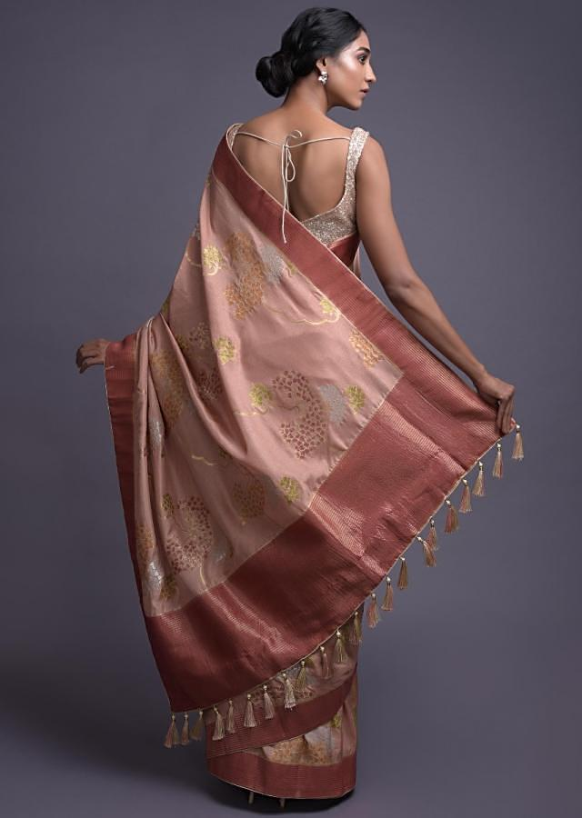 Salmon Pink Saree In Silk With Colorful Weaved Pattern In Leaf And Tree Motifs Online - Kalki Fashion
