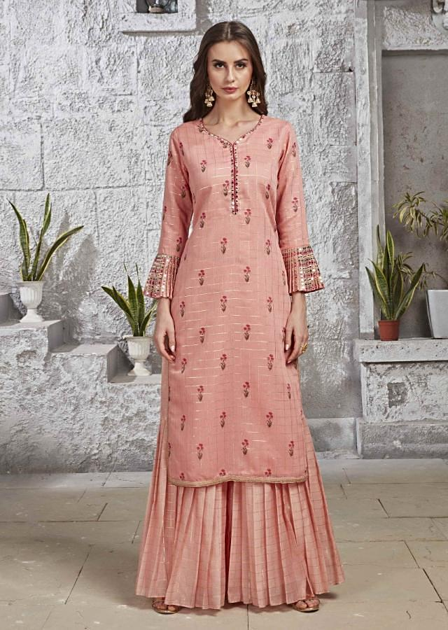 Salmon Pink Suit In Silk With Pleated Sharara Pants Online - Kalki Fashion